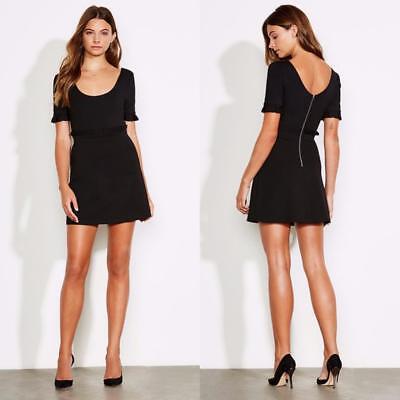 NEW ALI & JAY Anthropologie BLACK Ponte Knit PLEATED Teenage Love MINI DRESS M Teen Mini Dress