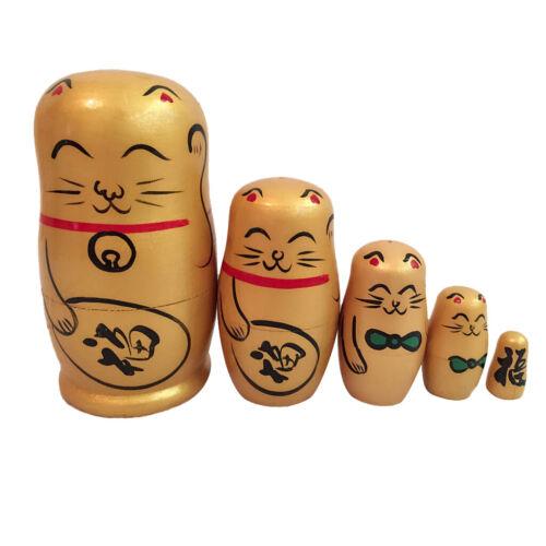 5Pcs Fortune Cat Wooden Russian Nesting Dolls Set Matryoshka Toy Gift Golden