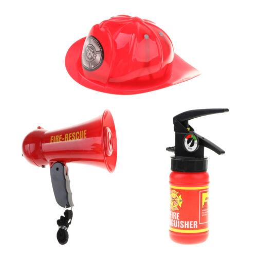 Firemen Pretend Playset Megaphone w/ Siren Sound Helmet Hat