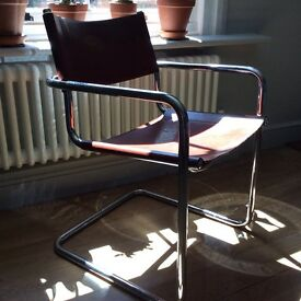 Modernist Mid Century Mart Stam 'style' tubular & leather chair