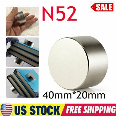 Large 40mm20mm N52 Super Strong Neodymium Round Rare Earth Fridge Magnets Thick