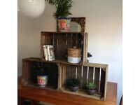 Vintage, rustic/or light brown wooden apple crates for sale