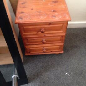 Pine woode bedside table