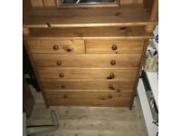 Solid pine chest of drawers 78cm tall 82 wide 34 deep