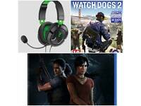 Uncharted the lost legacy and watch dos 2 and headphones