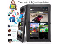 "New 7"" Inch Android Tablet PC 8GB Quad Core 4.4 Dual Camera Keyboard/Case Option 6 Mths Warranty"