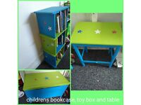 Children bookcase, wooden toy box and bedside table. Good condition. Brightly coloured star design.