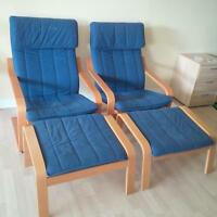 2 Ikea Poang Chairs and Footstools