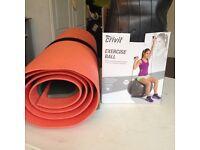 Pilates ball and mats