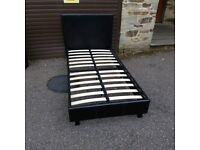 Faux leather single bed frame with mattress