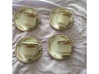 4 Cups and Saucers of Liling Yung Shen Fine China Collection