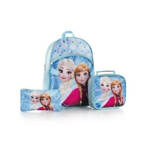 Heys Disney Frozen Anna Elsa Classic Designed Eye Catching Deluxe Blue Backpack Lunch Bag with Pencil Case