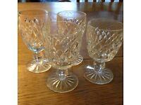 4 Vintage Waterford Crystal Sherry Glasses