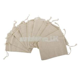 10Pcs Small Burlap Simple Linen Jute Sack Jewelry Pouch Drawstring Gift Bags