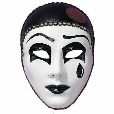 Classic Pierrot Mime Mask Artist Halloween Black White Tear Costume Accessory - Pierrot Masks