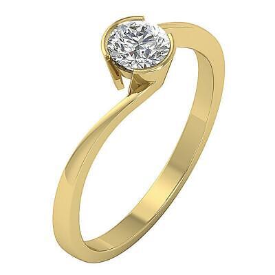 Semi Bezel Solitaire Setting - Genuine Diamond Semi Bezel Set SI1 G 0.55 Ct Solitaire Anniversary Ring 14K Gold