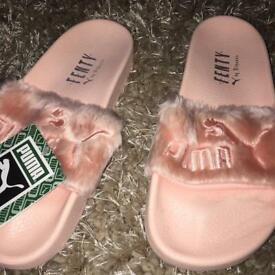 Pink puma sliders size 5