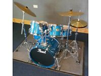 Pearl Drum Kit, 5 piece ELX , fusion sizes, including cymbals immaculate condition