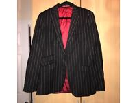 Used Mens Black and White Pinstripe Suit (Suit / Trousers from Next)