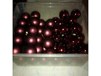70 Wine-Coloured Glass Christmas Tree Baubles - 55mm