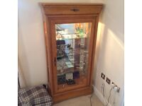 Solid Maple Display Cabinet with Three Glass Shelves and Lighting