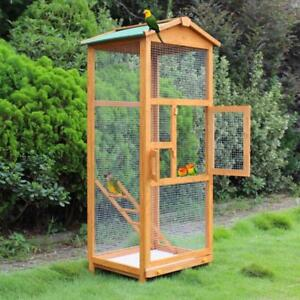 "Wooden Large Bird Cage 65"" Pet Play Covered House Ladder Feeder Stand Outdoor - BRAND NEW - FREE SHIPPING"