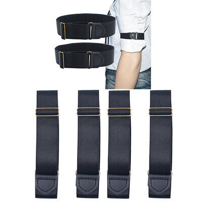 2 Pairs Shirt Sleeve Holder Elastic Arm Band Belt Bartender Armband Black - Bartender Armband
