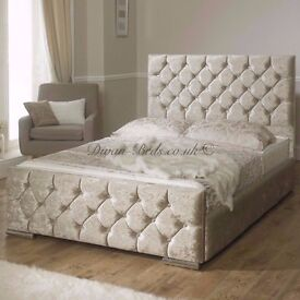 CRUSHED VELVET BED FRAME + DOUBLE MEMORY MATTRESS + HEADBOARD 3FT 4FT 4FT6 Double 5FT