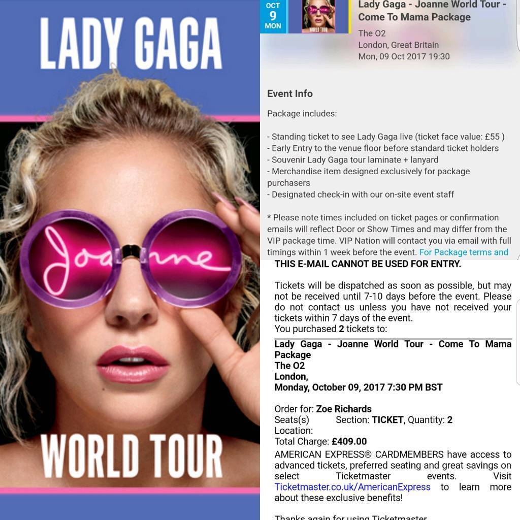 1 Lady Gaga Come To Mama Early Entry Ticket For Sale In Cardiff