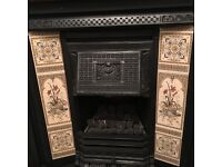Varnished oak surround and repro victorian insert plus hearth