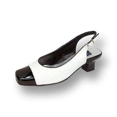 👠PEERAGE Cece Women Wide Width Black-White Block Heel Leather Slingback Pump 👠 Block Heel Slingback Pump