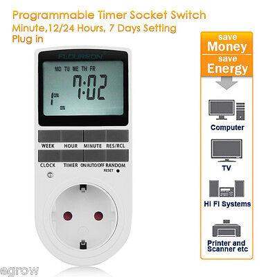 Digitale Zeitschaltuhr Steckdose Wochenzeitschaltuhr 16 Programme 230V 16A