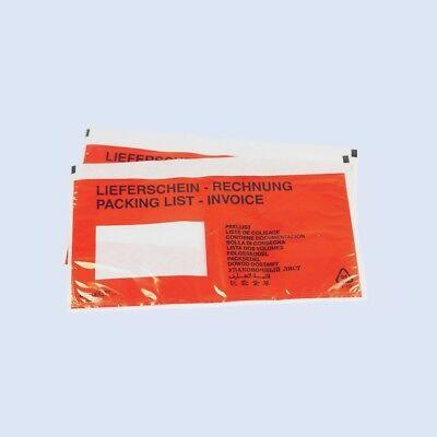 Lieferscheintaschen (bedruckt) Dokumententasche 1000 Stk. LD 240mm 110mm rot