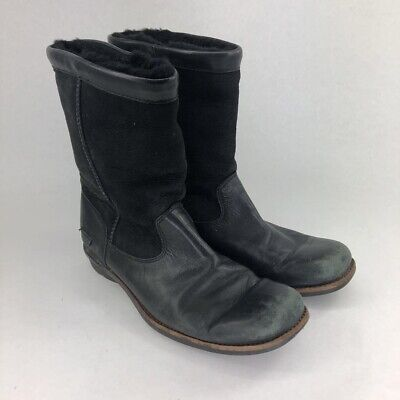 UGG Australia Womens Brookfield Boots Black Leather Mid Calf Shearling Lined 9
