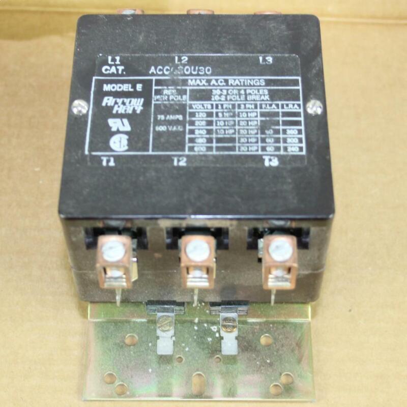 One New Old Stock Arrow Hart Magnetic Contactor ACC630U30 Model E 3 Poles