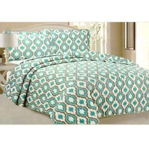 Todd Linens Queen Bedspread 3Pcs Quilt Set Soft Quilted Bedding - Microfiber Coverlet + 2 Pillow Shams (Green Geometric)