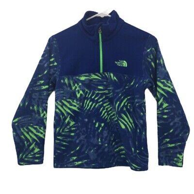 The North Face Boys Fleece Jacket Blue Green 1/4 Zip Leaf Print M 10-12