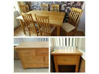 Solid teak 6 seater dining table, sideboard and lamp table