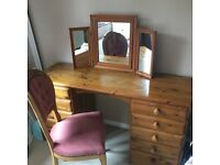 Victoria Ducal Pine Large Dressing Table, Vintage Chair and Triple Folding Mirror.