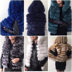 """Cara"" Hooded Real Silver fox Fur Gilet Sizes 6-22UK price vary"