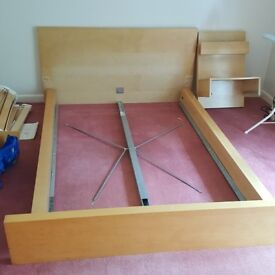 Ikea malm double bed with side table in Farnham