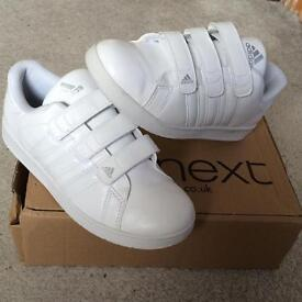 Brand new with box white Adidas trainers size 4