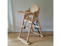 wooden folding highchair made by East Coast