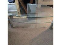 GLASS AND CHROME TV STAND. GOOD CONDITION £10