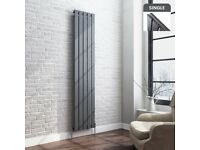 NEW Radiator 1800x376mm Single 2719BTU Anthracite Flat Panel Vertical Designer