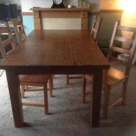 Family dining table and 4 chairs