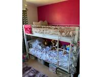 WHITE BUNKBED BUNK BED WITH 2 SINGLE MATTRESSES