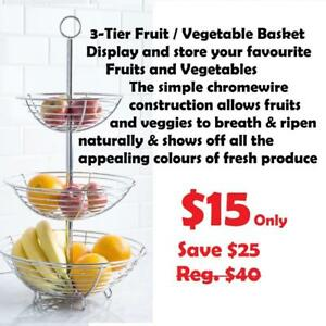 $15 NEW 3 Tier Tier Fruit / Vegetable Basket Chromewire Comercial gade Perfect for Home or STORE  DISPLAY