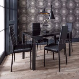 ✤✤SAME DAY DELIVERY ✤✤BRAND NEW ✤✤GLASS DINING TABLE WITH 4 FAUX LEATHER CHAIRS