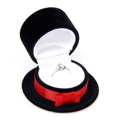 Bridegroom Hat Cap Velvet Ring Earring Cufflink Display Storage Gift Box